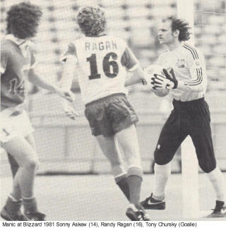 NASL Soccer Montreal Manic Blizzard 1981 Home Randy Ragan Back Sonny Askew Tony Chursky