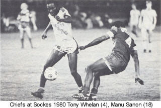 Chiefs Sockers 1980 Road Tony Whelan Back Manu Sanon