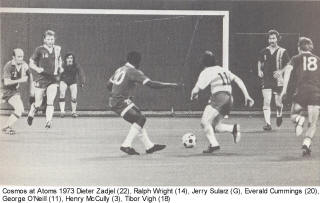 NASL Soccer New York Cosmos 73 Road Ralph Wright, Everald Cummings, Tibor Vigh