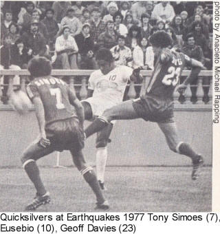 NASL Soccer San Jose Earthquakes 77 Road Back Tony Simoes, Goeff Davies