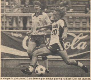 NASL Soccer San Jose Earthquakes 81 Home Gary Etherington
