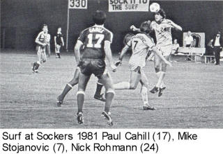NASL Soccer San Diego Sockers 81 Home  Back Mike Stojanovic, Nick Rohmann