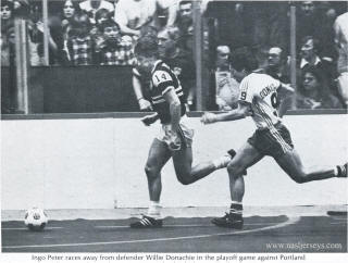 NASL Soccer Sting 80-81 Indoor Road Ingo Peter, Timbers Willie Donachie