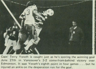 Vancouver Whitecaps 1981 Home Back Terry Yorath, 6-27-81