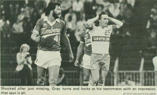 NASL Soccer Vancouver Whitecaps 1981 Home Gerry Gray 2, Timbers 5-27-81 Gary Collier